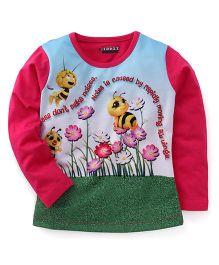 E-Todzz Full Sleeves T-Shirt Honey Bee Print - Pink