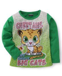 E-Todzz Full Sleeves T-Shirt Big Cats Print - Green