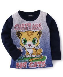 E-Todzz Full Sleeves T-Shirt Big Cats Print - Navy