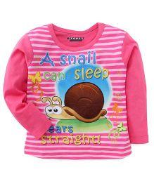 E-Todzz Full Sleeves T-Shirt Snail Print - Pink