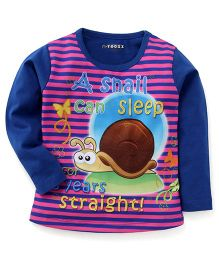 E-Todzz Full Sleeves T-Shirt Snail Print - Royal Blue