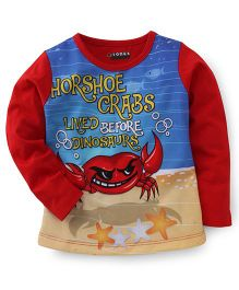 E-Todzz Full Sleeves T-Shirt Crab Print - Red