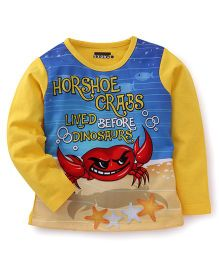 E-Todzz Full Sleeves T-Shirt Crab Print - Yellow