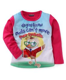 E-Todzz Full Sleeves T-Shirt Owl Print - Pink