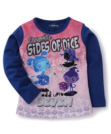 E-Todzz Full Sleeves T-Shirt Sides of dice Print - Royal Blue
