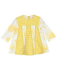 My Lil'Berry Carousel Dress With Print And Jacquard - Yellow & Cream