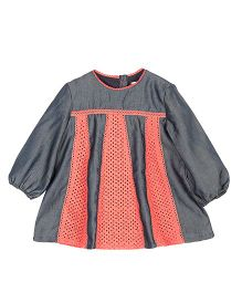 My Lil'Berry Full Sleeves Carousel Dress - Denim Blue & Coral