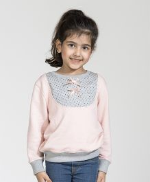 My Lil' Berry Full Sleeves Sweatshirt With Bow Applique - Pink