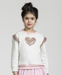 My Lil' Berry Full Sleeves Sweatshirt With Sequined Heart - Pink