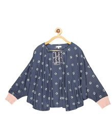 My Lil Berry Printed Poncho Top - Denim Blue