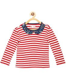My Lil' Berry Full Sleeves Top Stripes Print - Red