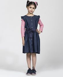 My Lil'Berry Long Sleeves Shirt Dress - Denim And Pink