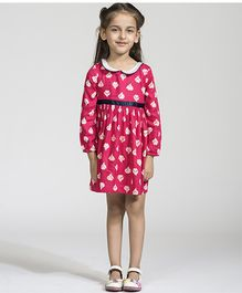 My Lil'Berry Full Sleeves Printed Frock - Pink