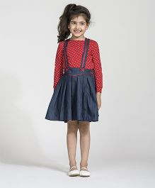 My Lil'Berry Box Pleat Washed Denim Dungaree Skirt - Blue
