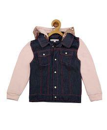 My Lil'Berry Full Sleeves Denim Hoodie Jacket - Blue & Pink