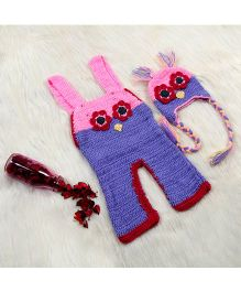 The Original Knit Knitted Lil Birdi Dungaree Set With Cap - Lavender & Pink