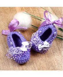 The Original Knit Bow & Lace Embellished Booties - Lavender