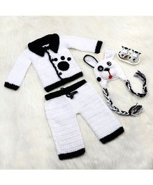 The Original Knit Lil Puppy Sweater With Pyjama & Cap Set - White & Black