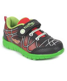 Footfun Sports Shoes With Velcro Closure - Green Black