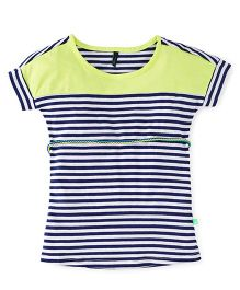 UCB Magyar Sleeves Stripes Dress - Green Navy White