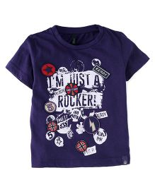 UCB Half Sleeves Rocker Print T-Shirt - Navy