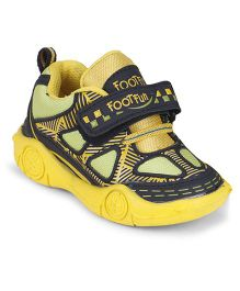 Footfun Casual Shoes With Velcro Closure - Yellow Black