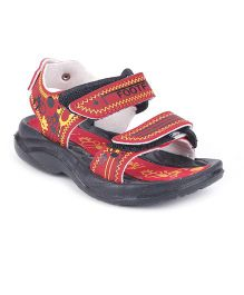 Footfun Sandals With Dual Velcro Closure - Red