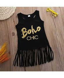 Tiny Closet Sleeveless Bohemian Style Fringes Dress - Black