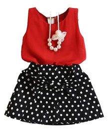 Tiny Closet Sleeveless Top With Polka Dot Skirt - Red & Blue