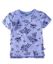 UCB Half Sleeves Printed T-Shirt - Light Blue