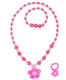 Miss Diva Beaded Flower Necklace Bracelet & Ring Set - Pink