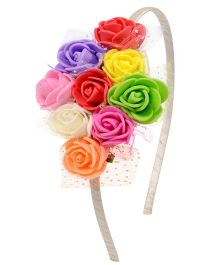 Miss Diva Multiflower Colorful Hairband - Multicolour