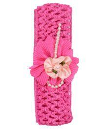 Miss Diva Pearls Bow Flower Soft Headband - Pink
