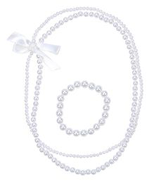 Miss Diva Necklace & Bracelet Set With Ribbon Bow - White