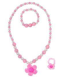 Miss Diva Beaded Flower Necklace Bracelet & Ring Set - Light Pink