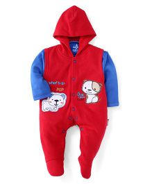 Child World Footed Hooded Romper With Inner T-Shirt Puppy Patch - Red
