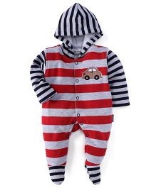 Child World Footed Romper with Hood Car Patch - Red Blue