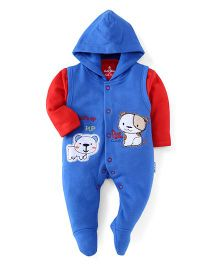Child World Footed Hooded Romper With Inner T-Shirt Puppy Patch - Blue