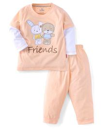 Child World Full Sleeves T-Shirt And Leggings Set Teddy And Bunny Patch - Peach