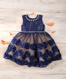 M'Princess Sleeveless Frock With Floral Print - Blue