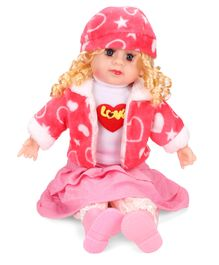 Smiles Creation Doll In Jacket Heart Print Red And Pink - 54 cm