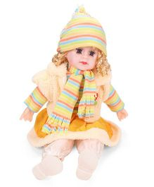 Smiles Creation Doll In Jacket Stripes Print Yellow - 54 cm