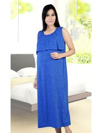 Mama & Bebe Sleeveless Maternity Dress - Blue