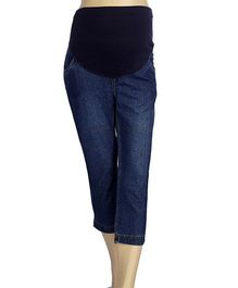 Mama & Bebe Maternity Denim Capri - Dark Blue