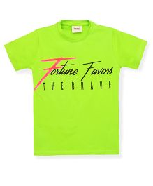Tonyboy Boys Fortune Favors The Brave Printed T-Shirt - Lime