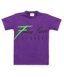 Tonyboy Boys Fortune Favors The Brave Printed T-Shirt - Purple