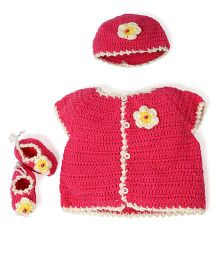 Mayra Knits Sweater Booties & Cap Set - Pink