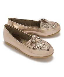LCL Party Wear Loafer Shoes Bow Applique - Golden