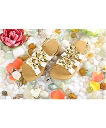 LCL Party Wear Sandals Bow Applique - White Golden