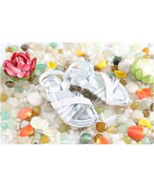 LCL Sandals Cut Work Design - White Silver